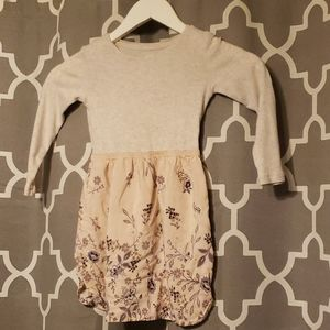 Gap Kids heather gray & floral dress 4/5